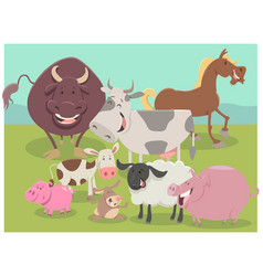 Farm animal characters group vector