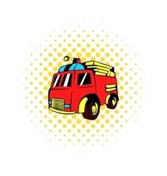 Fire truck icon comics style vector