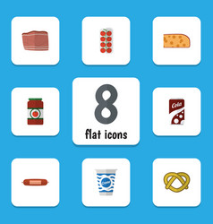 flat icon food set of ketchup kielbasa cookie vector image