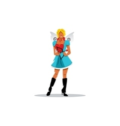 Funny cupid girl sign vector image