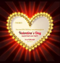 golden glitter heart frame vector image