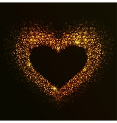 Golden heart of notes vector