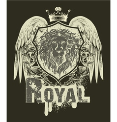 grunge t-shirt design with shield vector image
