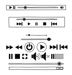 Hand draw sketch doodle audio player for web vector image vector image