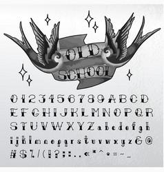 Hand written old school font vector