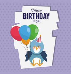 happy birthday bird cartoon card vector image