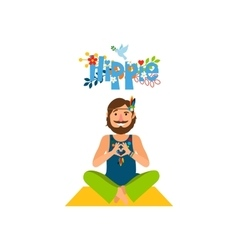 Hippie barefoot man sitting vector image