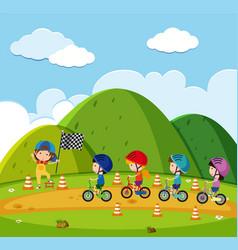 kids racing bike in the park vector image