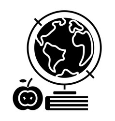 Knowledge - book - apple - globus - globe icon vector