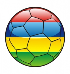 mauritius flag on soccer ball vector image vector image