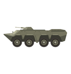 military vehicle with four pairs of wheels and vector image
