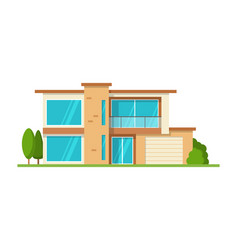 modern cottage house front view isolated vector image vector image