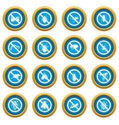 no insect sign icons blue circle set vector image