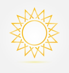 Orange minimal sun icon vector
