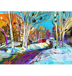 original digital painting of winter cityscape vector image