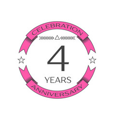 Realistic four years anniversary celebration logo vector