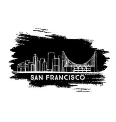 san francisco skyline silhouette hand drawn sketch vector image