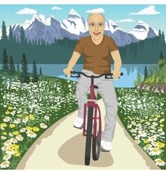Senior man on his mountain bike outdoors vector