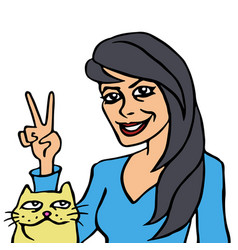 She and her cat vector