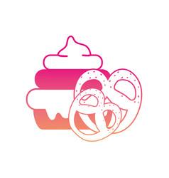 Silhouette cake dessert with pretzel sweet food vector