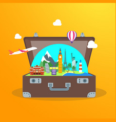 Travel concept with open suitcase vector