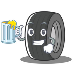 with juice tire character cartoon style vector image