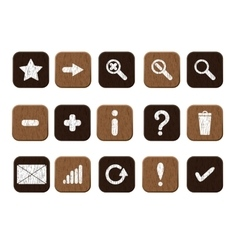 Wooden icons set white vector