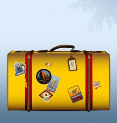 Vintage suitcase yellow vector