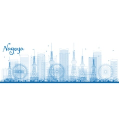 Outline nagoya skyline with blue buildings vector