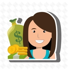 Woman money cash coins vector
