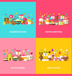 Happy easter greeting set vector