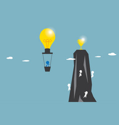 Businessman in light bulb balloon flying to get vector