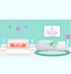 Modern style hotel bedroom interior with furniture vector