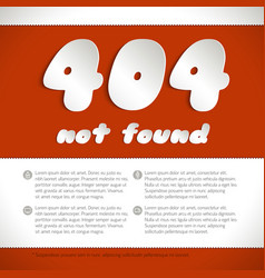 Page not found error 404 on red background vector