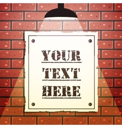 Signboard on brick wall vector image
