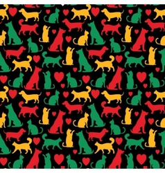 Seamless pattern with cats and dogs on black vector