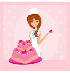 Baking a cake of lady baker making a cake vector