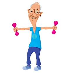 Old man with dumbbells vector