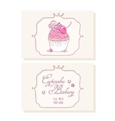 Hand drawn cherry cupcake business cards template vector