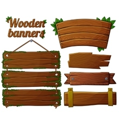 Set of dark wooden banners 2 vector