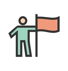 Man setting flag vector