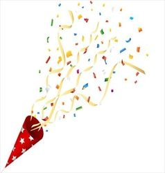 Party cracker with confetti and streamer vector