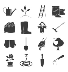 Icons gardening equipment vector