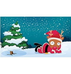 A reindeer near the pine tree wearing Santas dress vector image vector image