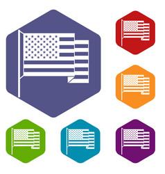 American flag icons set hexagon vector