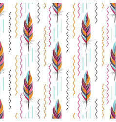 Beautiful large bright colored feather pattern vector