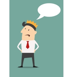 Businessman with golden crown and speech bubble vector image vector image