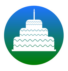 Cake with candle sign white icon in vector
