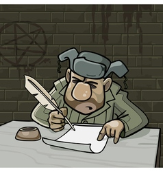 Cartoon male inmate writes a pen on paper vector