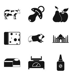 cow icons set simple style vector image